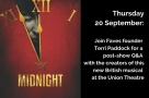 Join Faves founder Terri on Thu 20 Sep to talk to the writers of new British musical Midnight