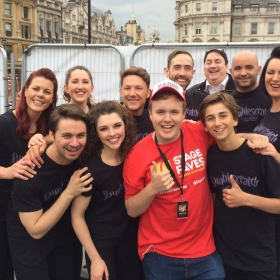 Bumblescratch cast plus writer and composer Robbie Sherman with Perry backstage at West End Live 2016