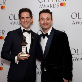 In the press room: Andy Blankenbuehler with Joe McFadden. @ Pamela Raith