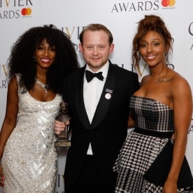 In the press room: Michael Jibson with Beverley Knight & Alexandra Burke. @ Pamela Raith