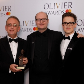 In the press room: Dick Whittington's Nick Thomas & Michael Harrison with Tom Fletcher. @ Pamela Raith