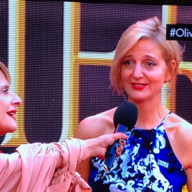 Patti Lupone with Company director Marianne Elliott on the Olivier Awards red carpet