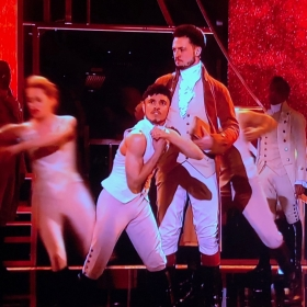 The cast of Hamilton performing Alexander Hamilton at Olivier Awards