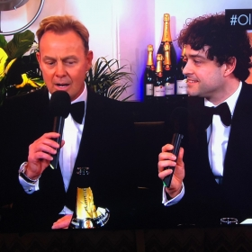 Jason Donovan & Lee Mead at Olivier Awards interval chat show