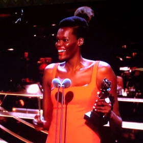 Sheila Atim collects Best Supporting Actress in a Musical for Girl from the North Country