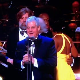 Cameron Mackintosh collects Best New Musical for Hamilton