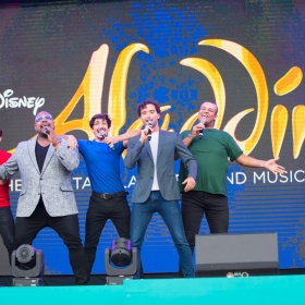 Daniel de Bourg, Trevor Dion Nicholas, Julian Capolei, Matthew Croke & Leon Craig from Aladdin at West End Live 2018