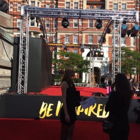 The red carpet stage. 2017 Olivier Awards