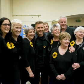 Gary Barlow & Tim Firth with the original Calendar Girls in The Girls rehearsals. © Matt Crockett