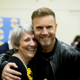Original Calendar Girl Angela Baker with Gary Barlow in The Girls rehearsals. © Matt Crockett