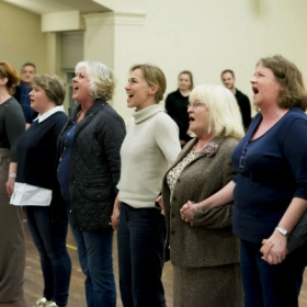 The cast in The Girls rehearsals. © Matt Crockett