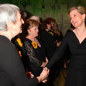 Angela Baker meets HRH Countess of Wessex at The Girls gala, 20 February 2017. © Alan Davidson