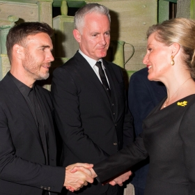 Gary Barlow & Tim Firth meet HRH Countess of Wessex at The Girls gala, 20 February 2017. © Alan Davidson