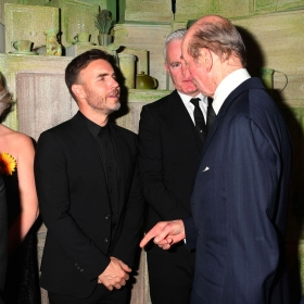 Gary Barlow & Tim Firth meet HRH Duke of Kent at The Girls gala, 20 February 2017. © Alan Davidson