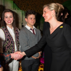 Joe Caffrey meets HRH Countess of Wessex at The Girls gala, 20 February 2017. © Alan Davidson