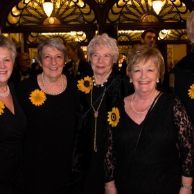 Original Calendar Girls Christine Clancy, Angela Baker, Beryl Bamforth, Ros Fawcett & Trish Stewart at The Girls gala, 20 February 2017. © Alan Davidson