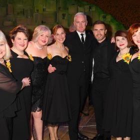 The cast with Tim Firth & Gary Barlow at The Girls gala, 20 February 2017. © Alan Davidson
