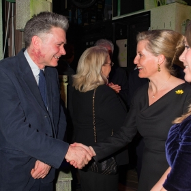 Producer Dafydd Rogers meeting HRH Countess of Wesses at The Girls gala, 20 February 2017. © Alan Davidson