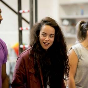 Javar La'trail Parker, Philippa Stefani & Christina Modestou in Rent rehearsals. © Matt Crockett