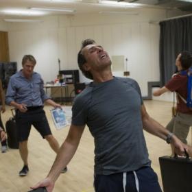 Gareth Snook in Pacifist rehearsals. © Sarah Ainslie