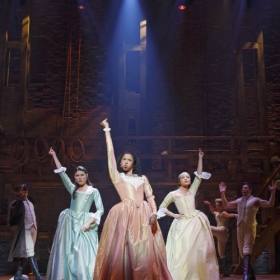 On Broadway: Phillipa Soo, Renee Elise Goldsberry and Jasmine Cephas Jones in Hamilton. © Joan Marcus