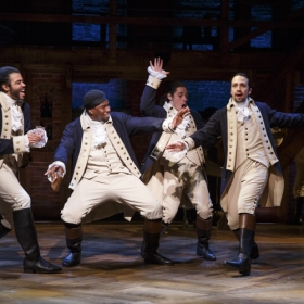On Broadway: Lin-Manuel Miranda (right) as Alexander Hamilton in Hamilton. © Joan Marcus