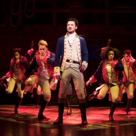 Jamael Westman & cast in Hamilton at Victoria Palace, London. © Matthew Murphy