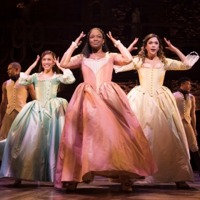 Rachelle Ann Go, Rachel John & Christine Allado in Hamilton at Victoria Palace, London. © Matthew Murphy