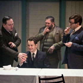 Gabriel Vick, Lee Ormsby, Craig Armstrong & Martin Dickinson in Promises, Promises. © Claire Bilyard
