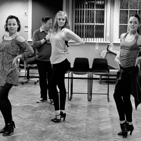 Natalie Moore-Williams, Lee Ormsby, Emily Squibb & Claire Doyle in Promises, Promises rehearsals. © Claire Billyard
