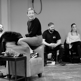 Ralph Bogard, Daisy Maywood, Craig Armstrong & Claire Doyle in Promises, Promises rehearsals. © Claire Billyard