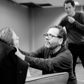 Daisy Maywood, John Guerrasio & Gabrick Vick in Promises, Promises rehearsals. © Claire Billyard