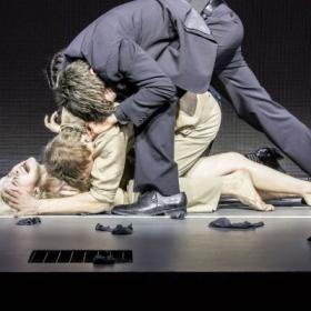 Sophia Anne Caruso, Michael C Hall & Michael Esper in Lazarus. c Johan Persson.