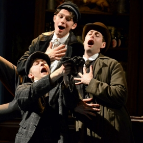 Sam O'Rourke, Alex Hope & Callum Train in Half a Sixpence. © Michael Le Poer Trench