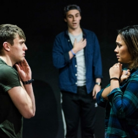 David Leopold, Edd Campbell Bird & Tori Allen-Martin in Muted rehearsals. © Savannah Photographic