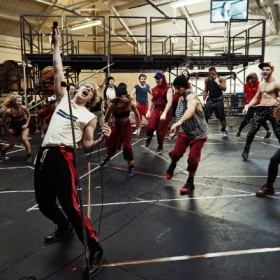 Andrew Polec & cast in Bat Out of Hell rehearsals. © Specular