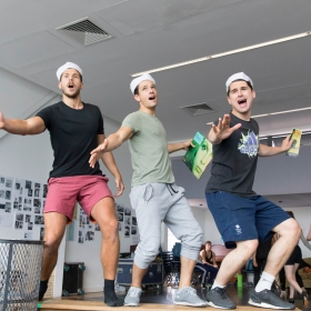 Samuel Edwards, Danny Mac & Fred Haig in On the Town rehearsals. © Johan Persson