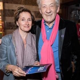 Ian McKellen & guest at opening night of Carousel. © Craig Sugden