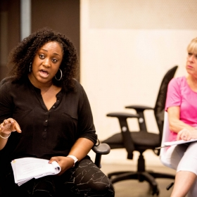 Sandra Marvin & Rosemary Ashe in Rehearsals for Committee.