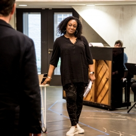 Sandra Marvin in Rehearsals for Committee.
