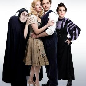 Character portrait: Ross Noble (Igor), Summer Strallen (Inga), Hadley Fraser (Dr Frederick Frankenstein) and Lesley Joseph (Frau Blucher)