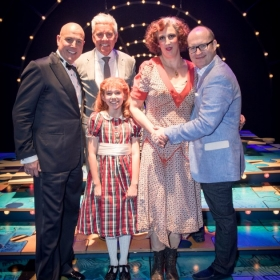 Annie on opening night: Alex Bourne, Ruby Stokes & Miranda Hart with producers Michael Harrison & David Ian. © Craig Sugden