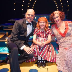 Annie on opening night: Alex Bourne, Ruby Stokes & Miranda Hart. © Craig Sugden