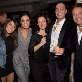 Debbie McGee, Janette Manrara, Amy Dowden, Kathryn Harrison, Craig Revel Horwood and Brian Conley - Annie at the Piccadilly Theatre - Photo credit Craig Sugden