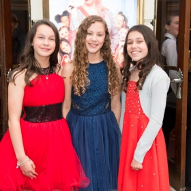 Madeleine Haynes, Lola Moxom & Ruby Stokes (the three Annies) at Annie opening night, 5 June 2017. © Craig Sugden