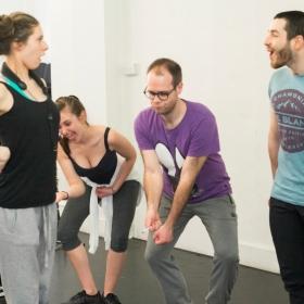 Emma Jane Morton, Emily Goad, Robert Pearce & Liam Vincent-Kilbride in Honk! rehearsals. © Nick Rutter