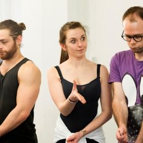 Leon Scott, Emily Goad & Robert Pearce in Honk! rehearsals. © Nick Rutter