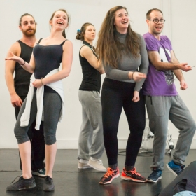 Leon Scott, Emily Goad, Emma Jane Morton, Ellie Nunn & Robert Pearce in Honk! rehearsals. © Nick Rutter
