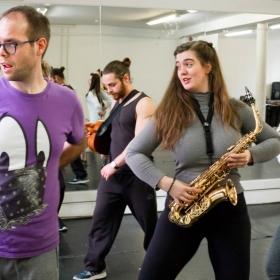 Robert Pearce, Leon Scott, Ellie Nunn & Emily Goad in Honk! rehearsals. © Nick Rutter