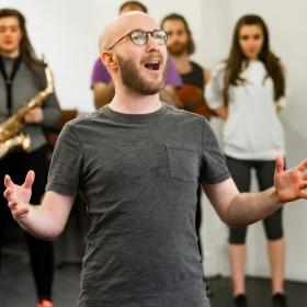 Sam Sugarman in Honk! rehearsals. © Nick Rutter